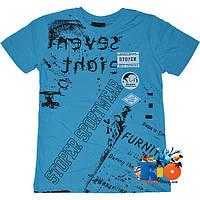 """Стильная футболка с ярким принтом """"Sport Wear"""" , трикотаж , для мальчика (рост 140-176 см) (4 ед. в уп.)"""