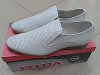 Мужские летние туфли из натуральной кожи МИДА  13270 молоко, фото 1