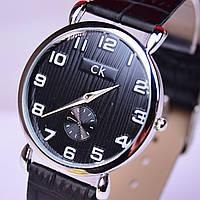 Часы наручные CK Calvin Klein в стальном цвете, черный циферблат