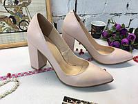Женские туфли лодочки на толстом обтяжном  каблуке, кожа