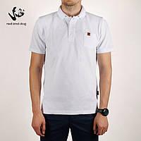Поло футболка мужская стильная  Red and Dog - King Pocket - White