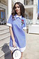 Полосатое платье с воротничком и манжетами 0547 (ФК)