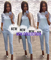 Костюм гипюровая блуза+брюки slim 01453 (ФК)