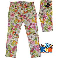 """Стильные детские брюки """"Flowers In Summer"""" , коттон , для девочки от 9-12 лет (4 ед. в уп.)"""