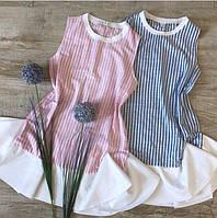 Платье в полосочку с контрастными воланами 0035 (НБН)