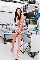 Коротенькое платье с поясом и принтом, цвета персиковое, все размеры и другие цвета