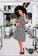 Платье в полосочку по колено, цвета черно-белое, все размеры и другие цвета