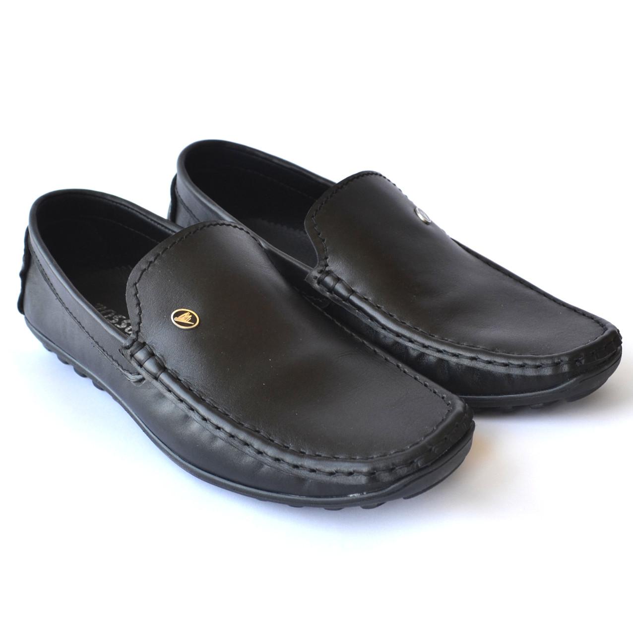 Взуття великих розмірів чоловіча шкіряні мокасини чорні Rosso Avangard BS Alberto M5 Black Leather