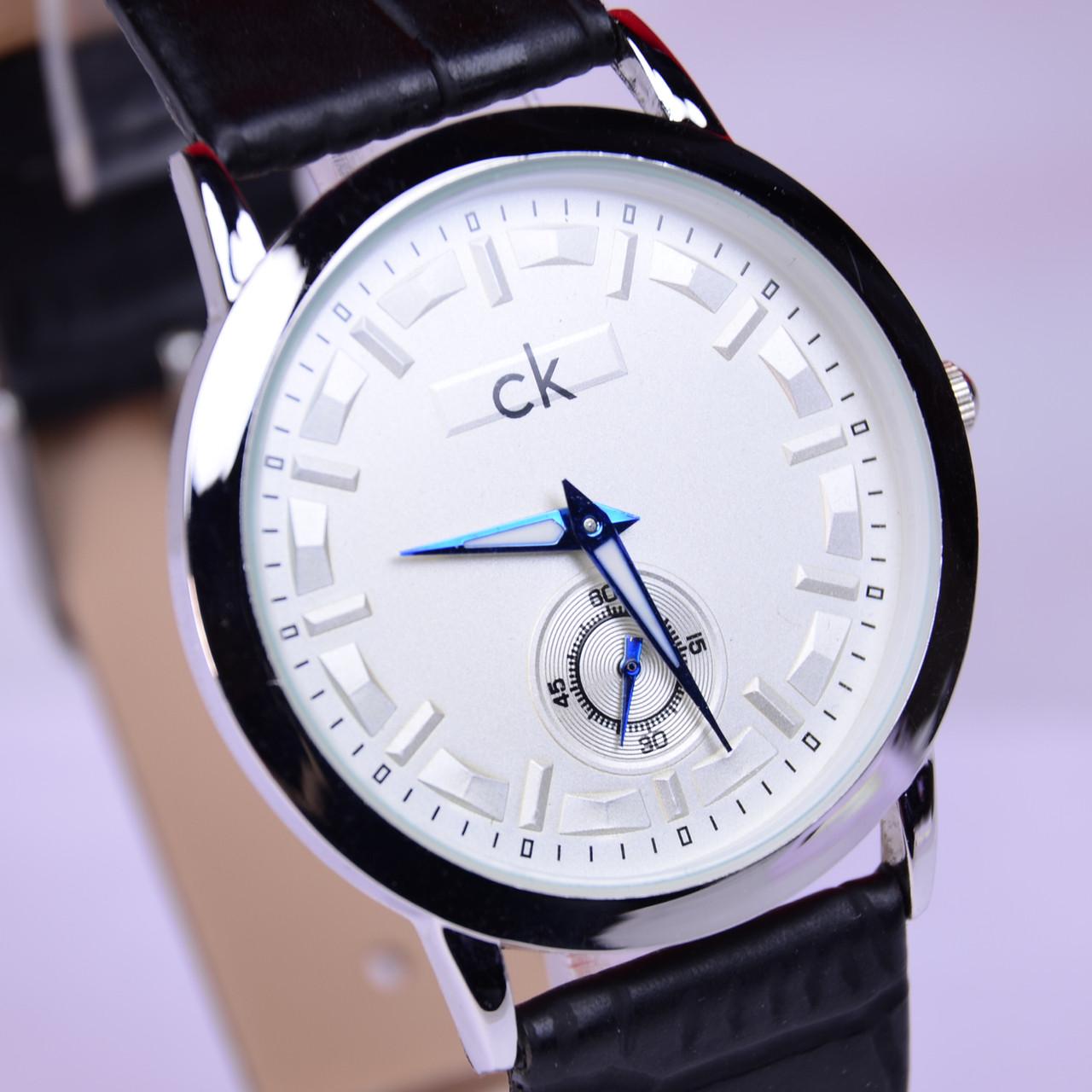 Часы наручные CK Calvin Klein в стальном цвете,белый циферблат