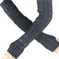 Длинные темно-серые женские митенки (перчатки без пальцев) 50 см