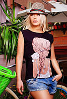 Черная женская футболка с принтом Classic (42–46р) разный принт, фото 1