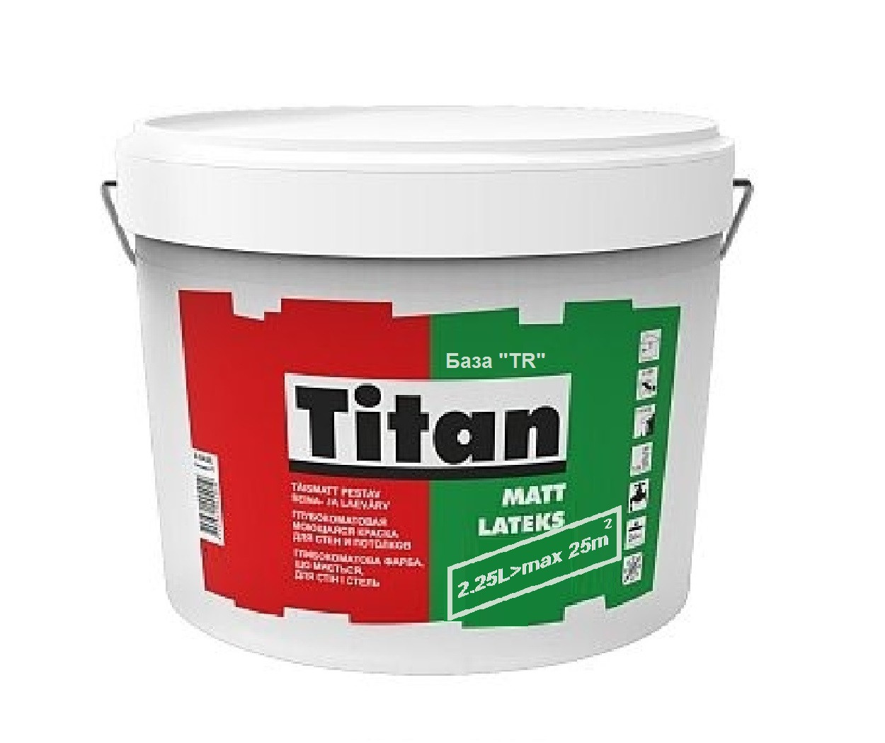 Краска  латексная TITAN MATTLATEKS интерьерная, транспарентная (база TR), 2,25л