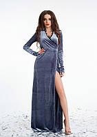"""Длинное бархатное платье """"Obell"""" разрезом (3 цвета)"""