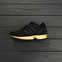 Кроссовки Adidas ZX Flux Black/gold. Живое фото. Топ качество (адидас кроссовки)