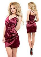 Платье с полу-открытой спиной ,Бордо, красный, черный