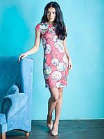 Нарядное коктейльное платье Ирис с цветочным принтом красное