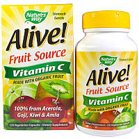 Натуральный витамин C из органических ягод и фруктов, Nature's Way, Alive!, 120 вегетарианских капсул