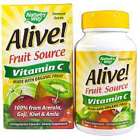 Натуральный витамин C из фруктового источника, Nature's Way, Alive!, 120 вегетарианских капсул