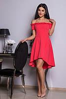 Красивое женское платье кораллового цвета