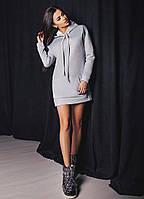 "Теплое трикотажное платье-туника ""Street"" с капюшоном и карманом кенгуру (3 цвета)"