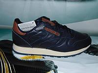 Мужские повседневные кроссовки Reebok Classic кожа темно-синие