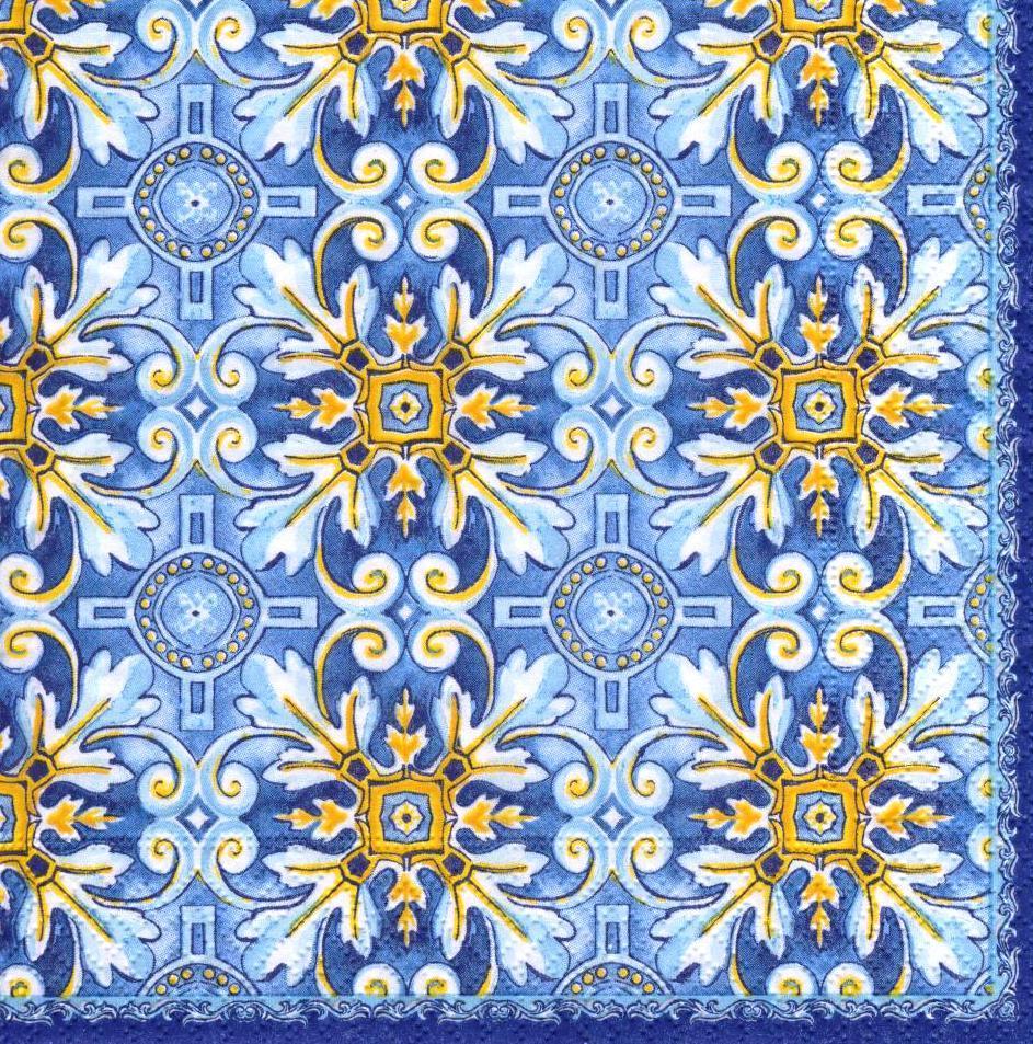 Декупажные салфетки Жёлтый орнамент на синем фоне 6892