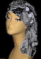 Бандана  женская Клер Огурец Черный стильная, модная, летняя, красивая  из хлопка