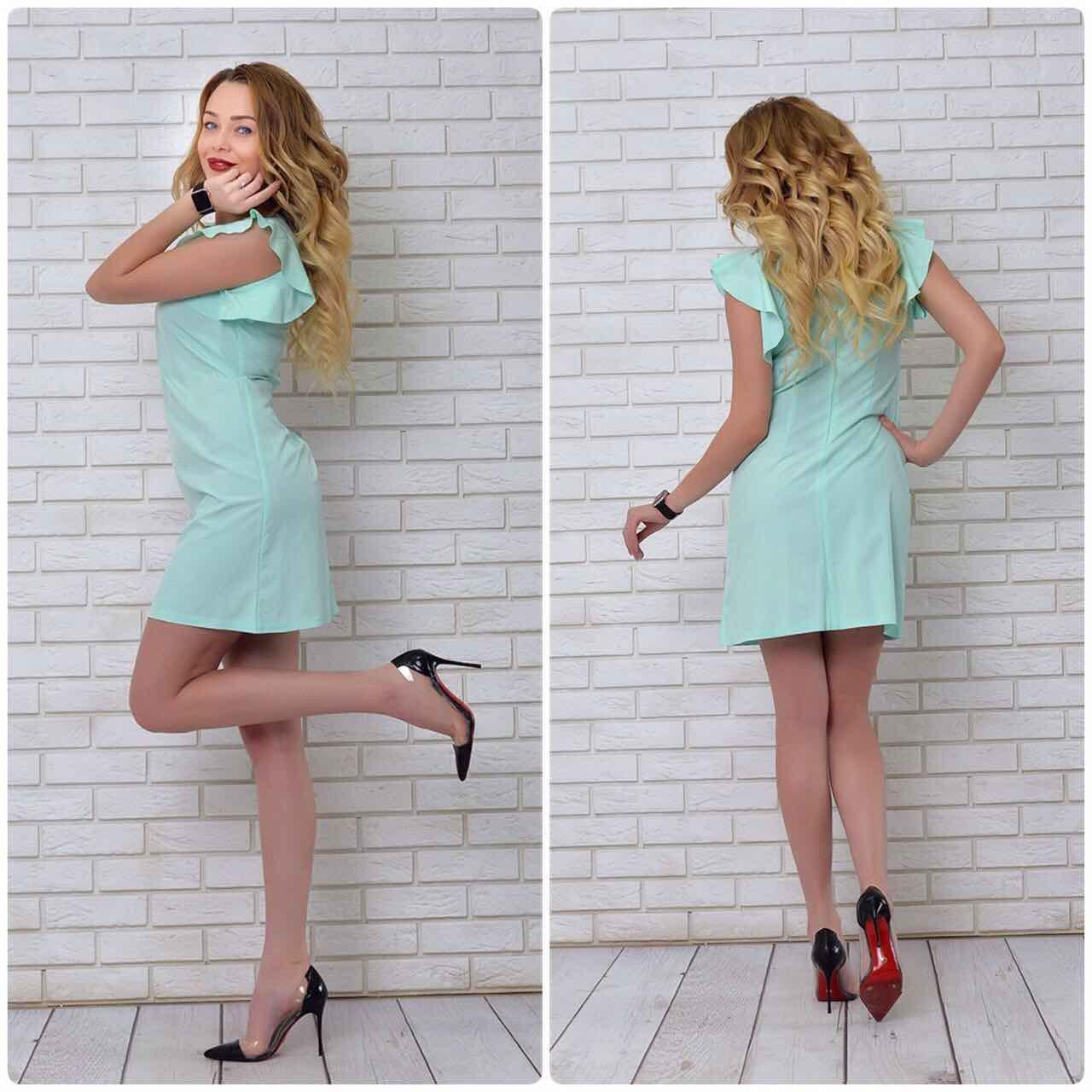 Платье с рюшами на плечах арт. 783, цвет  ментол