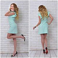 Платье с рюшами на плечах арт. 783, цвет  ментол, фото 1