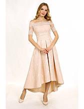 Платье вечернее из жаккарда с асимметричным низом