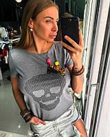 Женская стильная футболка с черепом из страз