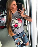 Женская летняя футболка с объемными цветами