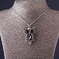 Подвеска на цепочке Сова 4,5см   серый кристалл , L-50см