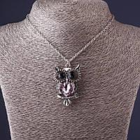 Подвеска на цепочке Сова 4,5см   розовый кристалл , L-50см