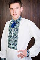 Льняная мужская вышитая рубашка белого цвета