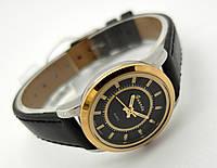 Женские часы Guardo - Italy, цвет серебро с золотом, черный ремешок
