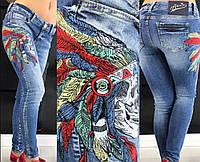 Джинсы женские в обтяжку с вышивкой AMN (26)