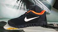 Мужские повседневные кроссовки NIKE Free Run 3.0 черные с оранжевым