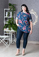 Ляная повседневная  блуза большого размера