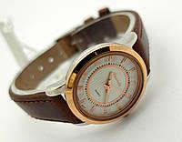 Женские часы Guardo - Italy, цвет золото с серебром, коричневый ремешок, фото 1