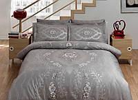 TAC Семейный комплект постельного белья Сатин Delux Louvre gri