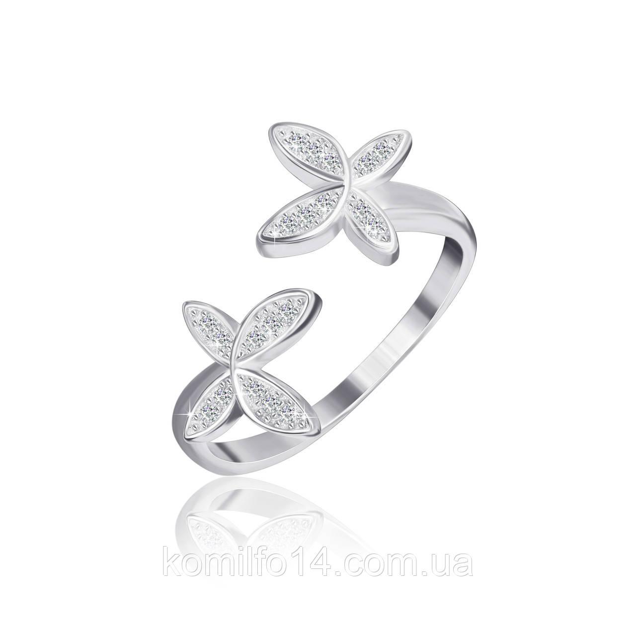 """Серебряное кольцо """"Бабочки"""" с белыми фианитами"""
