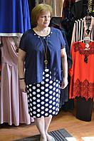 Нарядное синее платье в белый горох с шифоном