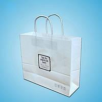 Пакет белый крафт бумажный с логотипом №3 (400х300х120)