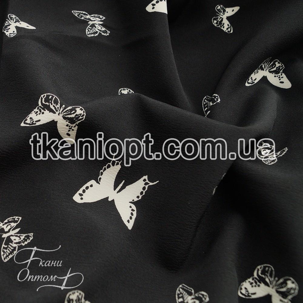 Ткань Софт стрейч бабочки (на черном фоне белые)