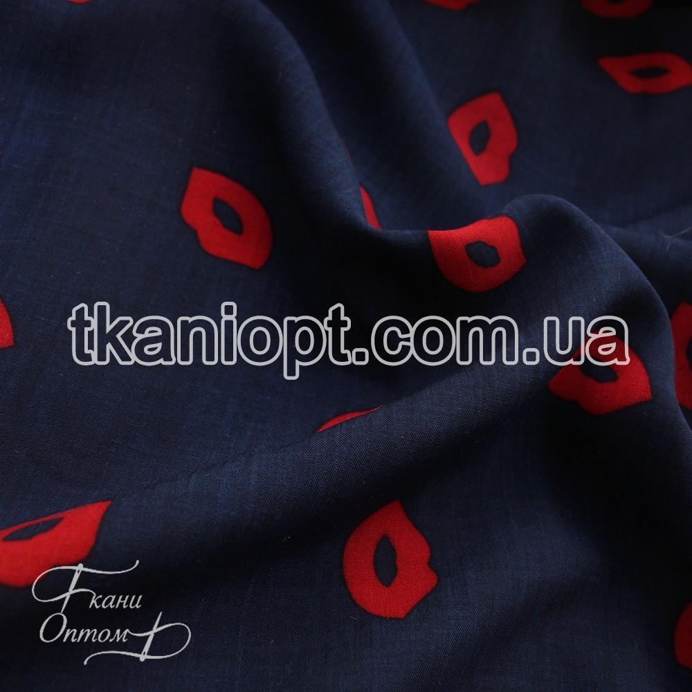 Ткань Штапель губы (на синем фоне красные)