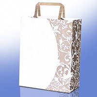 Пакет белый крафт бумажный с логотипом №2 (180х255х60)
