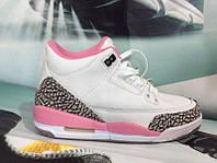 Женские кроссовки Nike Air Jordan кожа белые с розовым