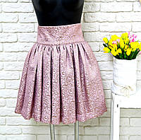 Юбка  розового цвета из плотной ткани парчи