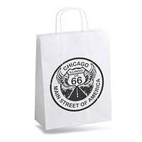 Пакет белый крафт бумажный с логотипом №17 (220х320х80)
